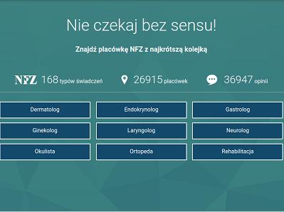 Grafika ilustracyjna z hasłem portalu, przykładami statystyk świadczeń i placówek oraz przyciskami do wyszukiwanych specjalności
