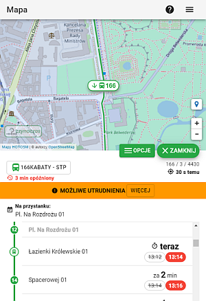 Fragment ekranu aplikacji z mapą i tabelką z kolejnymi przystankami i czasem