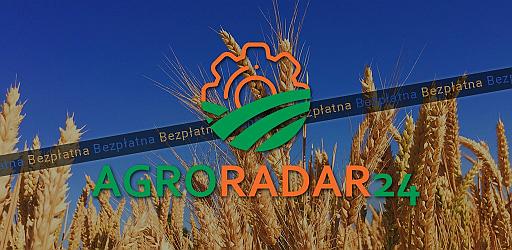 """Kłosy pszenicy na tle błękitnego nieba, z logo aplikacji, napisem Agroradar i informacją """"Bezpłatna"""""""
