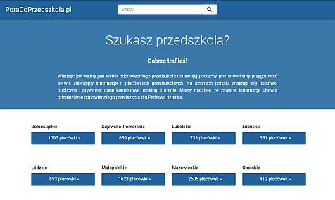 Widok ekranu aplikacji w module wyszukiwania przedszkola