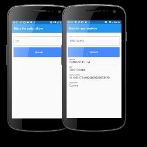 Widok dwóch ekranów smartfona z wyświetlonymi wynikami